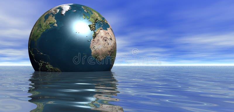 Planeten-Erde, die in Meer schwimmt stock abbildung