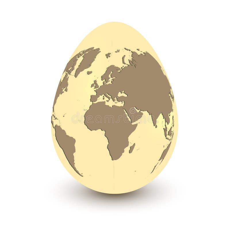 Planeten-Erde in Form des Eies lokalisiert auf einem weißen Hintergrund mit Schatten Begriffs- Bild von Welt-Ostern-Feier oder vektor abbildung