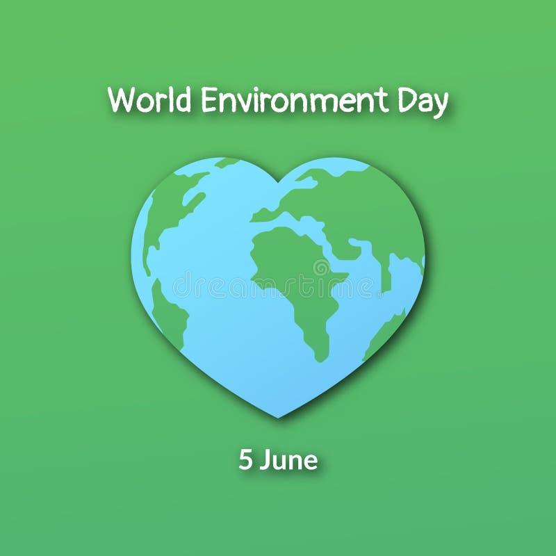 Planeten-Erde in Form eines Herzens Plakat während des Weltumwelttags stock abbildung