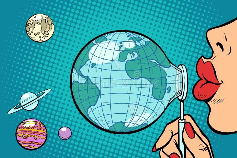 Planeten-Erde ist heraus wie eine Seifenblase geblasen lizenzfreie abbildung