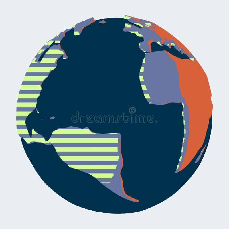 Planeten-Erde mit Afrika, Amerika und Atlantik in der Comicsart lizenzfreie abbildung
