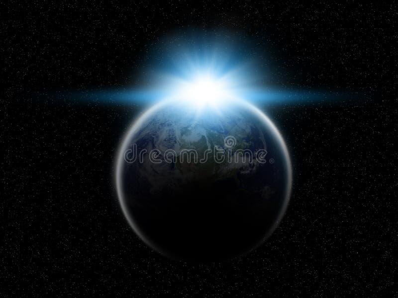 Planeten-Erde mit steigender Sonne stock abbildung