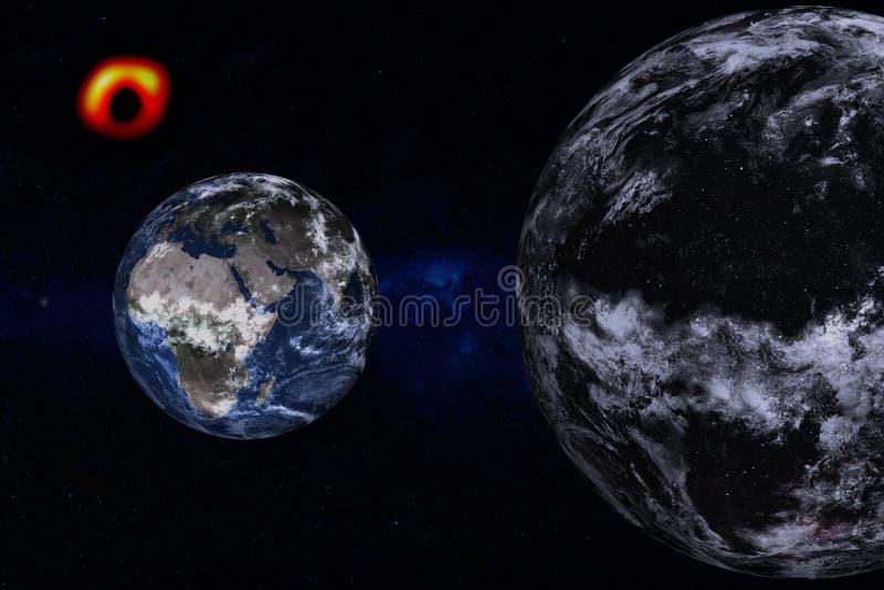 Planeten-Erde nahe unbekanntem dunklem Planeten irgendwo im Raum vektor abbildung