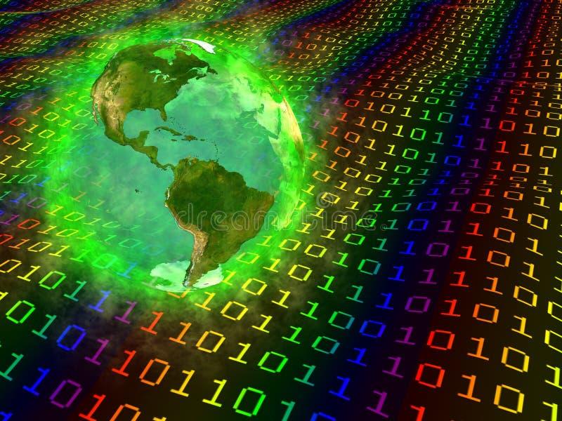 Planeten-Erde und digitale Daten - Amerika lizenzfreie abbildung