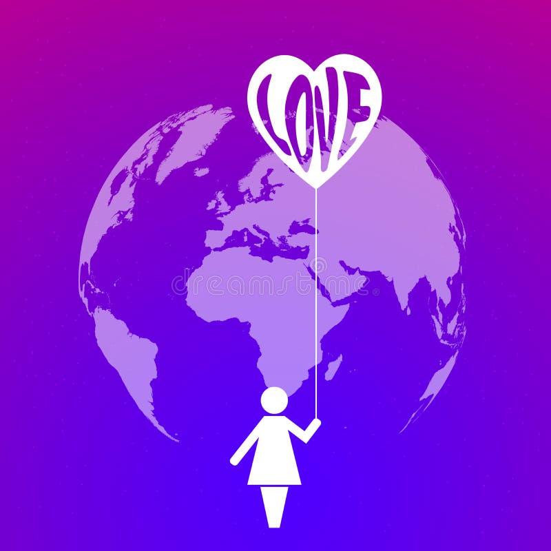 Planeten-Erde und Ikone einer Frau, die ein Herz mit der Wortliebe auf hellem purpurrotem Hintergrund mit Sternen hält vektor abbildung