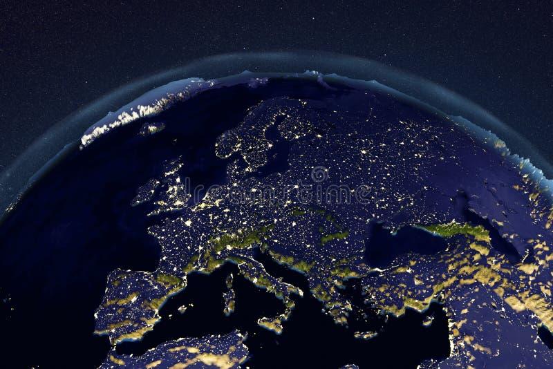 Planeten-Erde vom Raum, der Europa zeigt stock abbildung