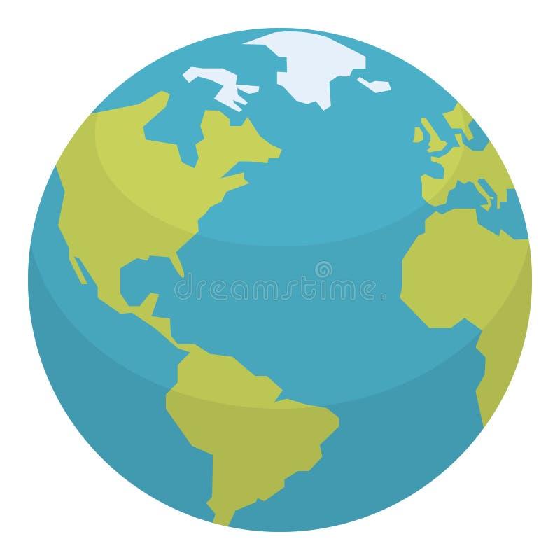 Planeten-Erdflache Ikone lokalisiert auf Weiß lizenzfreie abbildung