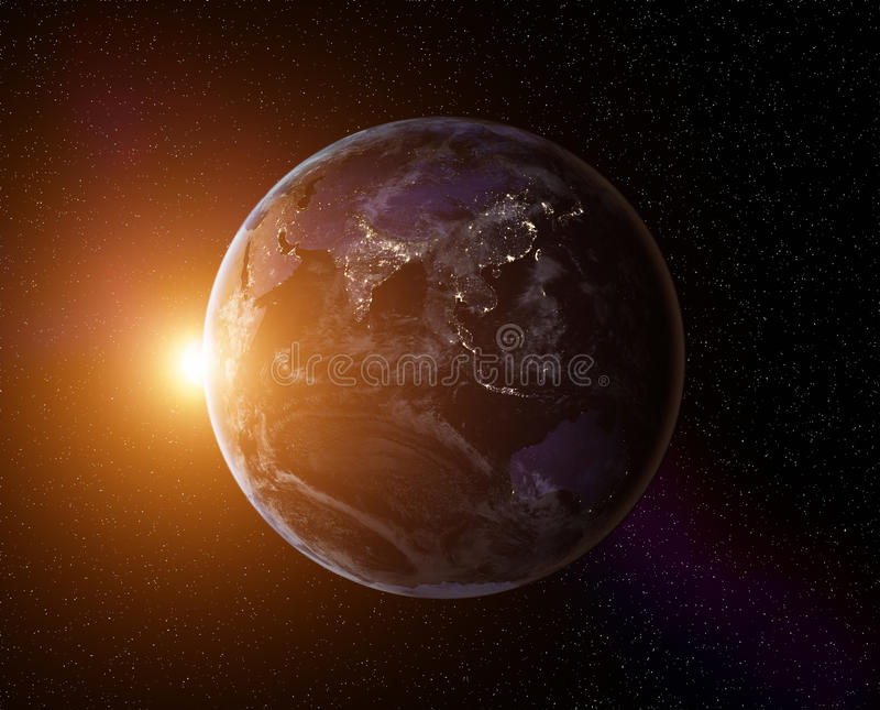 Planeten-Erdsonnenaufgang stockfoto