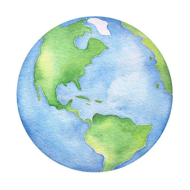 Planeten-Erdwasser-Farbillustration lizenzfreie abbildung
