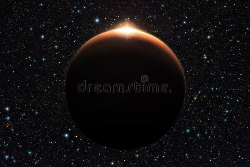 Planeten fördärvar med soluppgång i utrymme (beståndsdelar av furnis för denna bild royaltyfria bilder