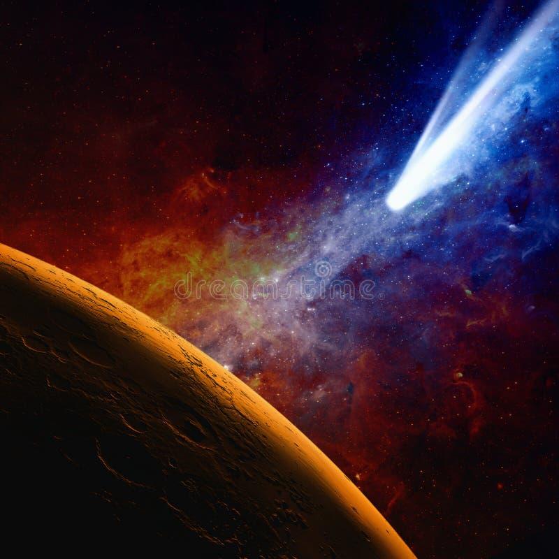 Planeten fördärvar och komet royaltyfri illustrationer