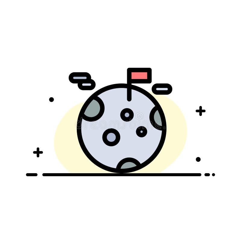Planeten gas, jätten, plan linje för utrymmeaffär fyllde mallen för symbolsvektorbanret royaltyfri illustrationer