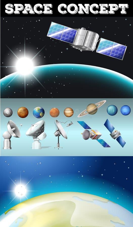 Planeten im Raum und in anderen Gegenständen stock abbildung