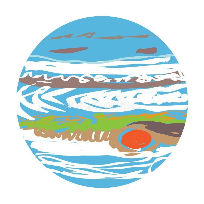 Planeten-Jupiter-Gekritzel vektor abbildung