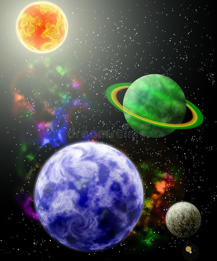 Planeten in kosmome royalty-vrije illustratie