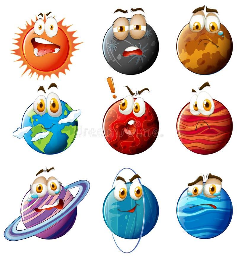 Planeten met gezichten op wit vector illustratie