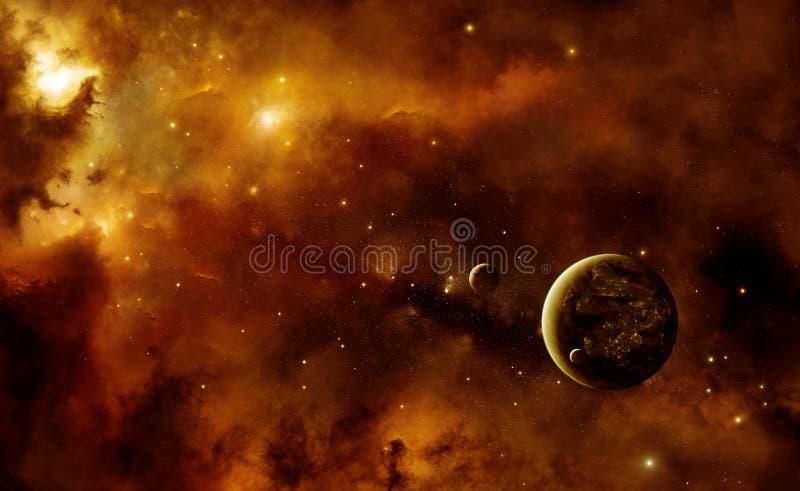 Planeten met nevel stock illustratie