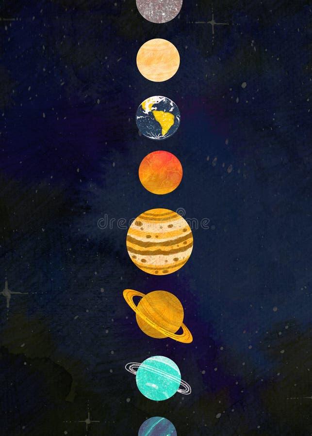 Planeten op een rij tegen de sterrige hemel royalty-vrije illustratie