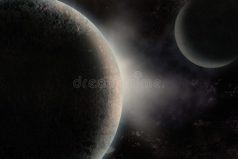 Planeten over de nevel stock illustratie