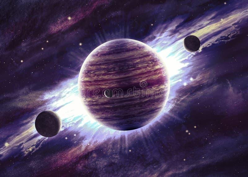 Planeten over de nevels in ruimte royalty-vrije illustratie