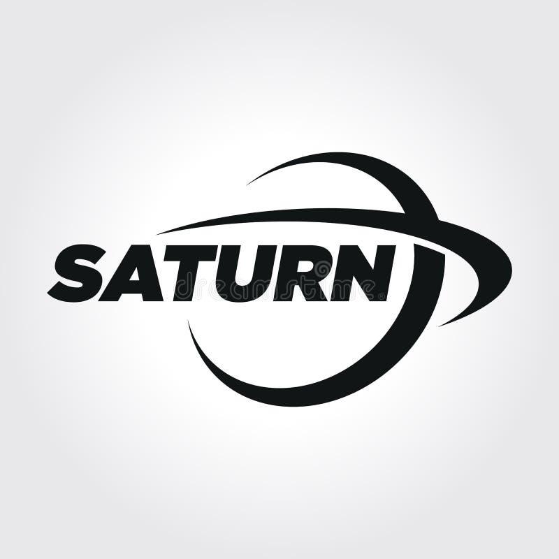 Planeten-Saturn-Typografie-Symbolillustration lizenzfreie abbildung