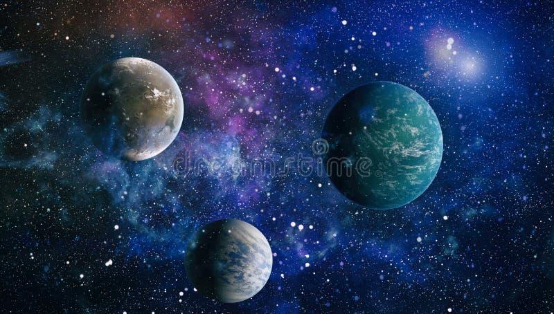 Planeten, Sterne und Galaxien im Weltraum, der die Schönheit der Raumforschung zeigt Elemente geliefert von der NASA stock abbildung