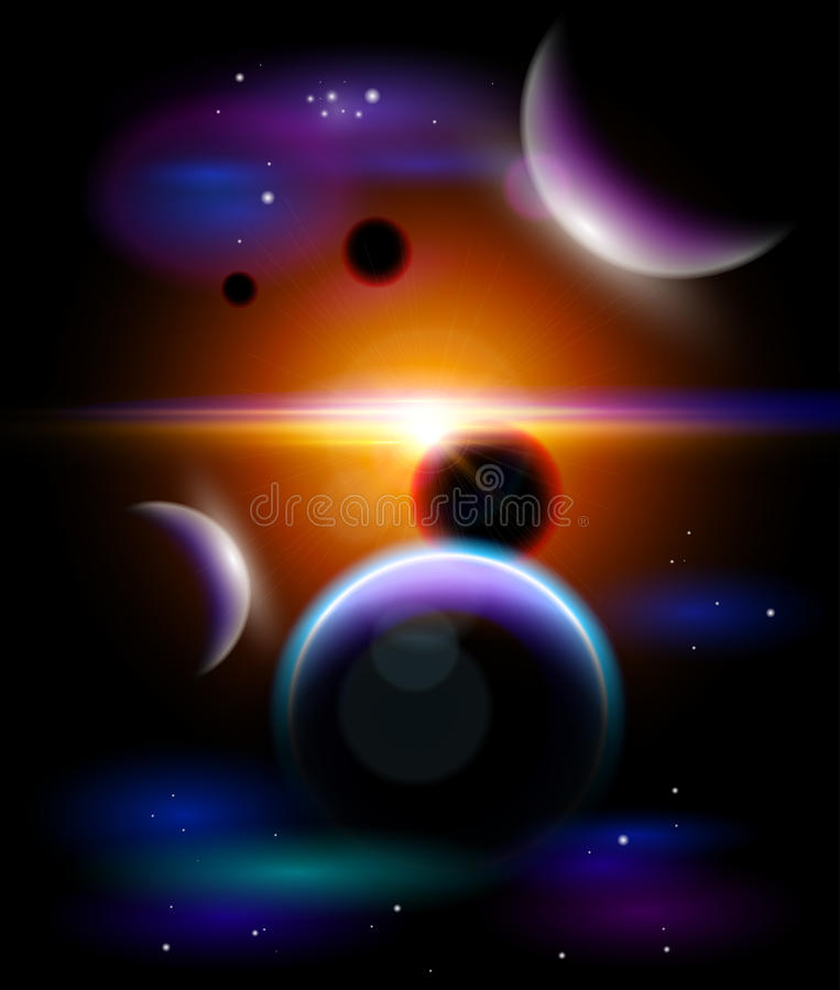 Planeten, sterren en constellaties vector illustratie