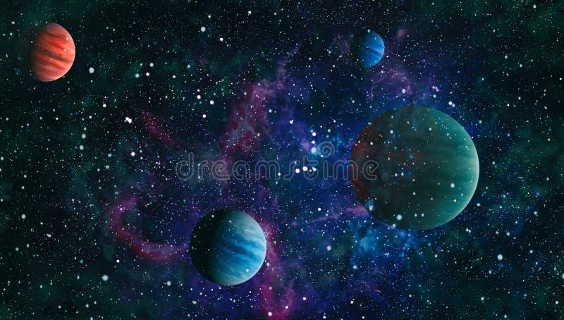 Planeten, sterren en melkwegen in kosmische ruimte die de schoonheid van ruimteexploratie tonen Elementen door NASA worden geleve stock afbeelding