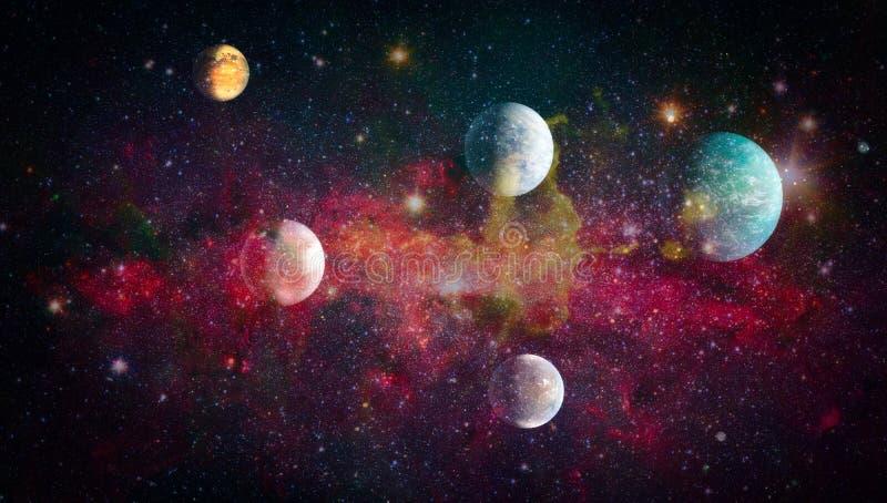 Planeten, sterren en melkwegen in kosmische ruimte die de schoonheid van ruimteexploratie tonen Elementen door NASA worden geleve stock illustratie