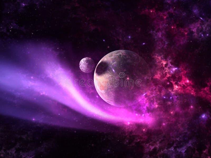 Planeten und Galaxie, Zukunftsromantapete lizenzfreie stockfotos