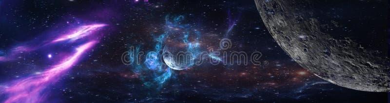 Planeten und Galaxie, Zukunftsromantapete lizenzfreies stockfoto