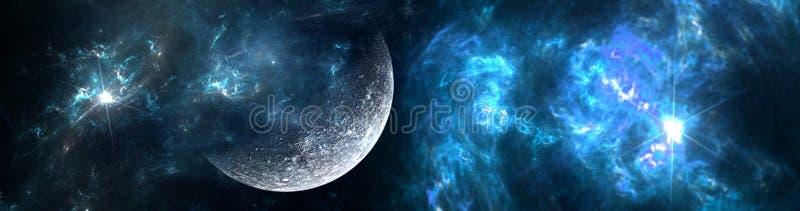 Planeten und Galaxie, Zukunftsromantapete stockfoto