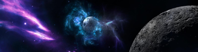 Planeten und Galaxie, Zukunftsromantapete vektor abbildung