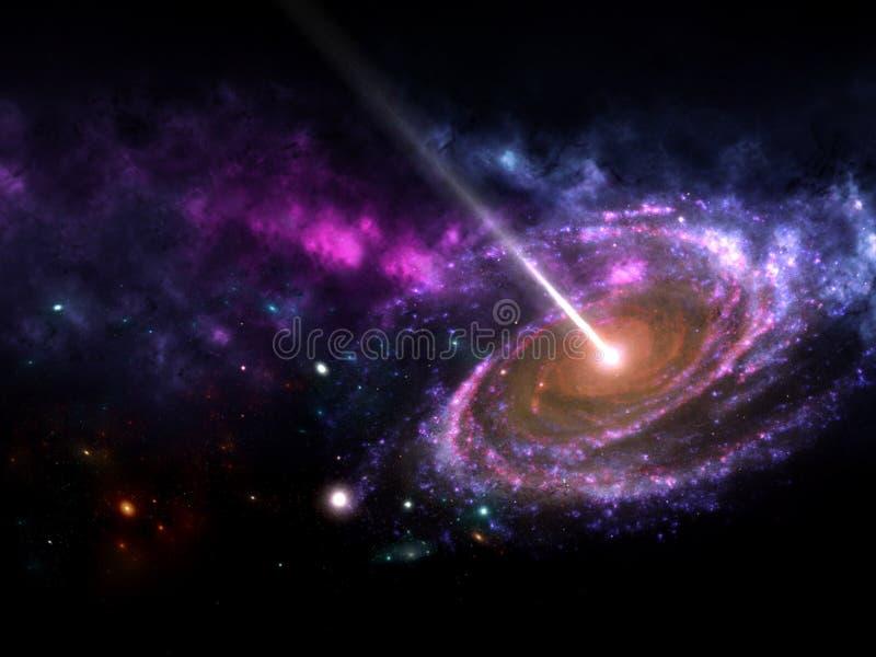 Planeten und Galaxie, Zukunftsromantapete lizenzfreie abbildung