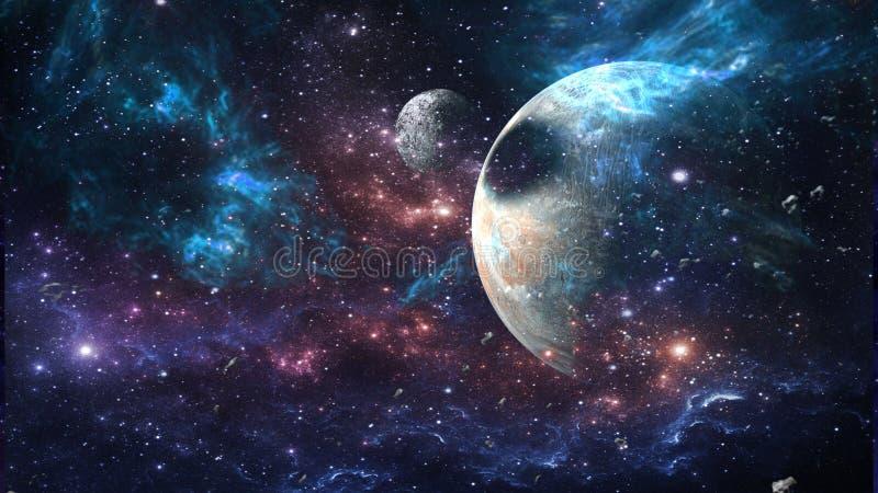Planeten und Galaxie, Zukunftsromantapete Schönheit des Weltraums stockbilder