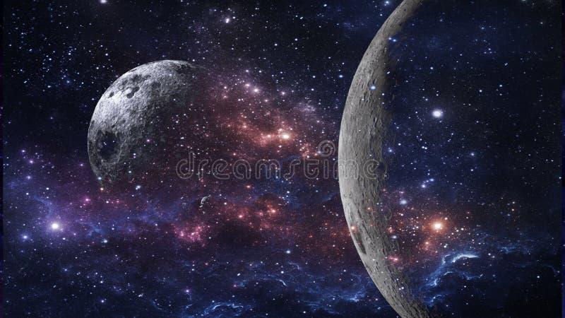 Planeten und Galaxie, Zukunftsromantapete Schönheit des Weltraums vektor abbildung