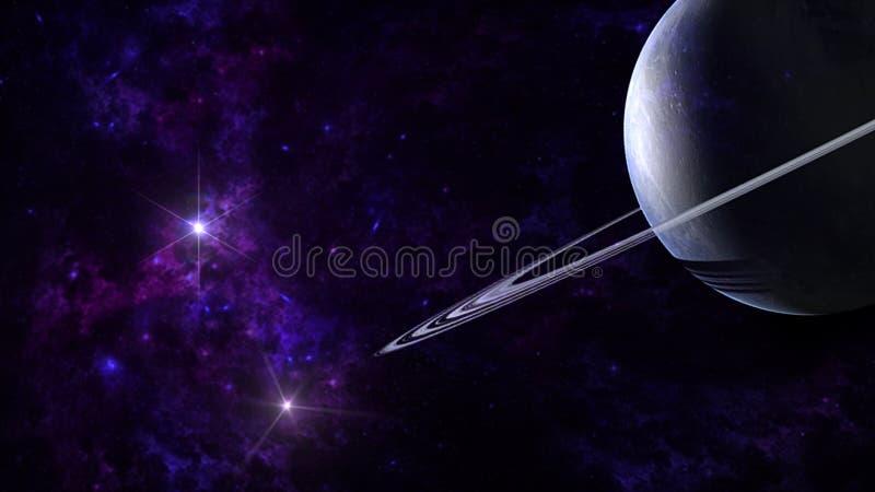 Planeten und Galaxie, Zukunftsromantapete Schönheit des Weltraums stockfoto