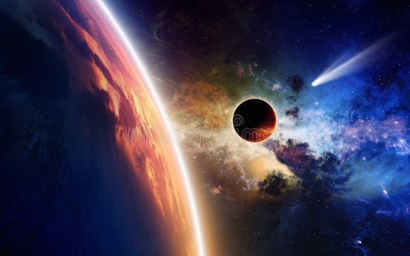 Planeten und Komet im Raum lizenzfreie stockfotos