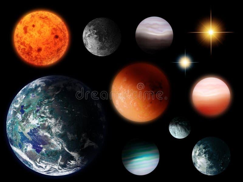 Planeten und Sterne lokalisiert lizenzfreie abbildung
