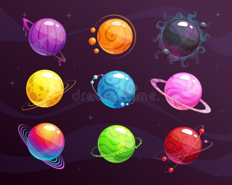 Planeten van de beeldverhaal de kleurrijke die fantasie op ruimteachtergrond worden geplaatst royalty-vrije illustratie