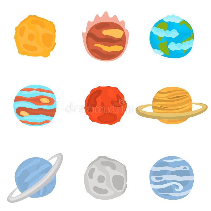 Planeten van geplaatste de pictogrammen van de Zonnestelselkleur stock illustratie