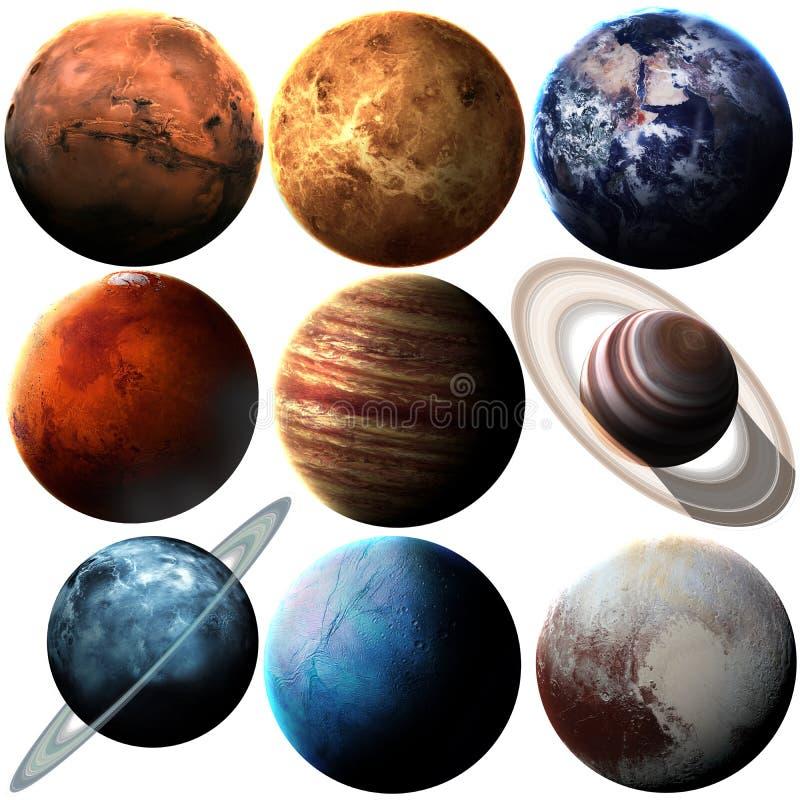 Planeten van het hoogte de kwaliteit geïsoleerde zonnestelsel royalty-vrije illustratie