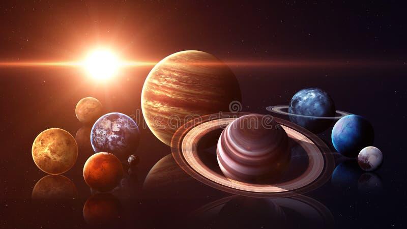 Planeten van het hoogte de kwaliteit geïsoleerde zonnestelsel stock illustratie