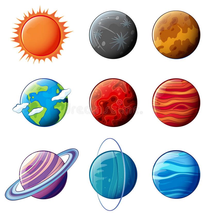Planeten van het Zonnestelsel vector illustratie