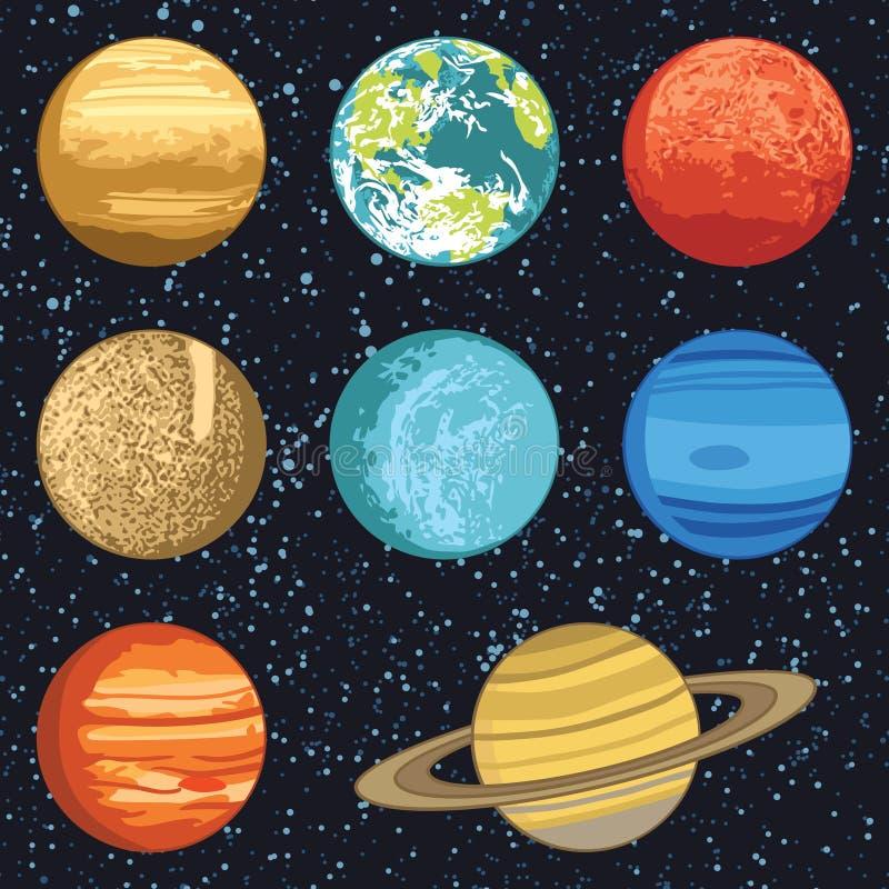 Planeten van het Zonnestelsel royalty-vrije illustratie