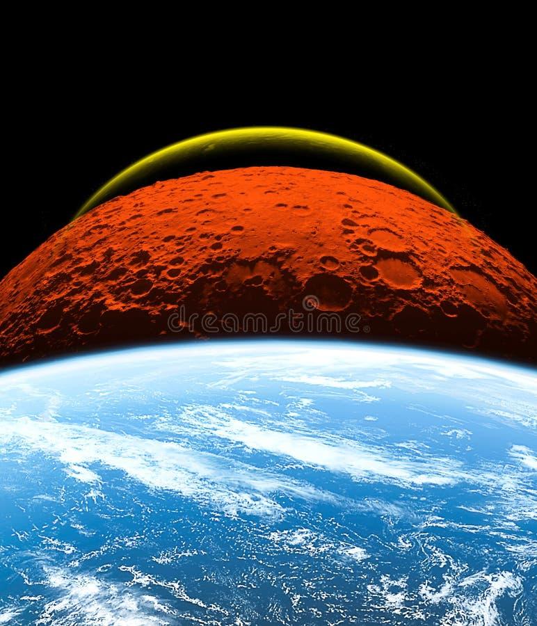 Planeten van het zonnestelsel op zwarte achtergrond wordt geïsoleerd die Sommige elementen van dit beeld worden geleverd door NAS stock illustratie