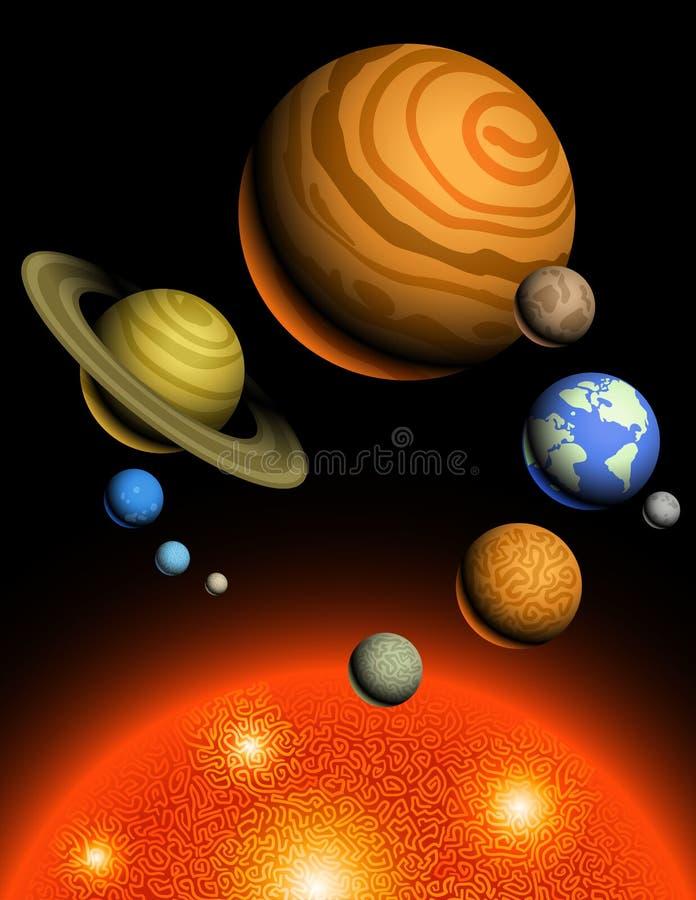 Planeten van Zonnestelsel vector illustratie