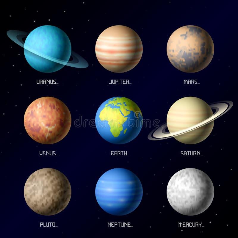 Planeten van Zonnestelsel royalty-vrije illustratie