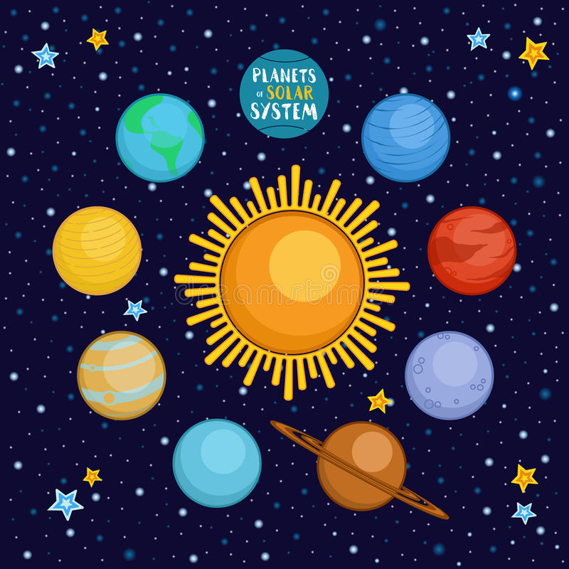 Planeten van zonnestelsel in kosmische ruimte, beeldverhaal vectorillustratie vector illustratie