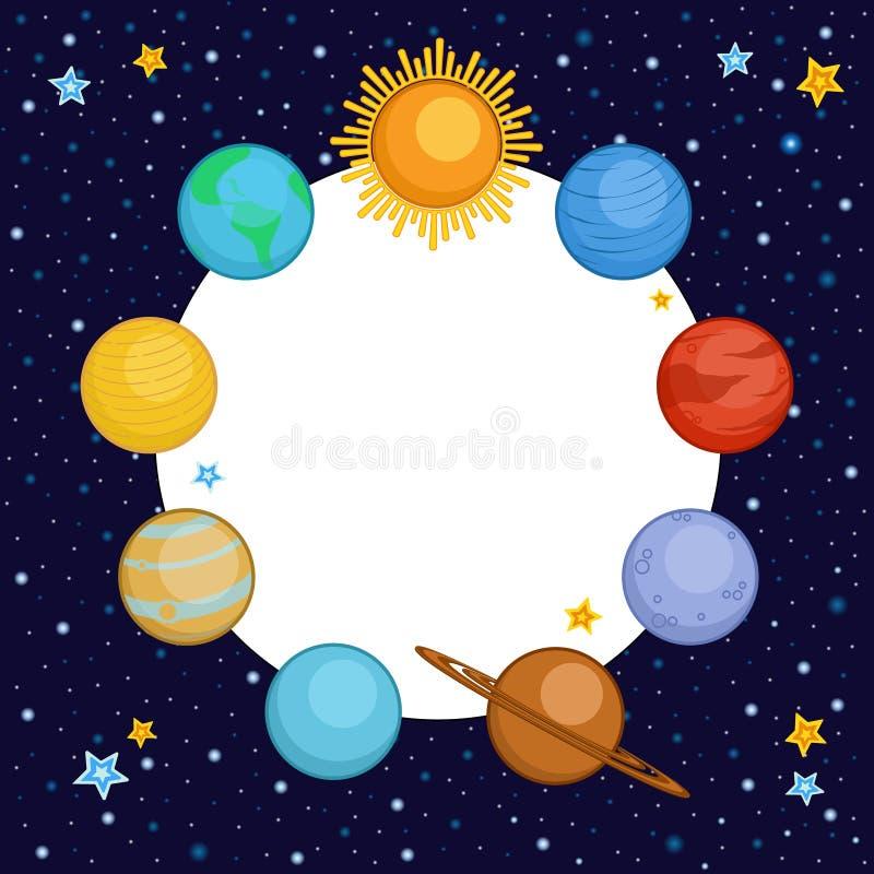 Planeten van zonnestelsel met ronde plaats voor tekst royalty-vrije illustratie
